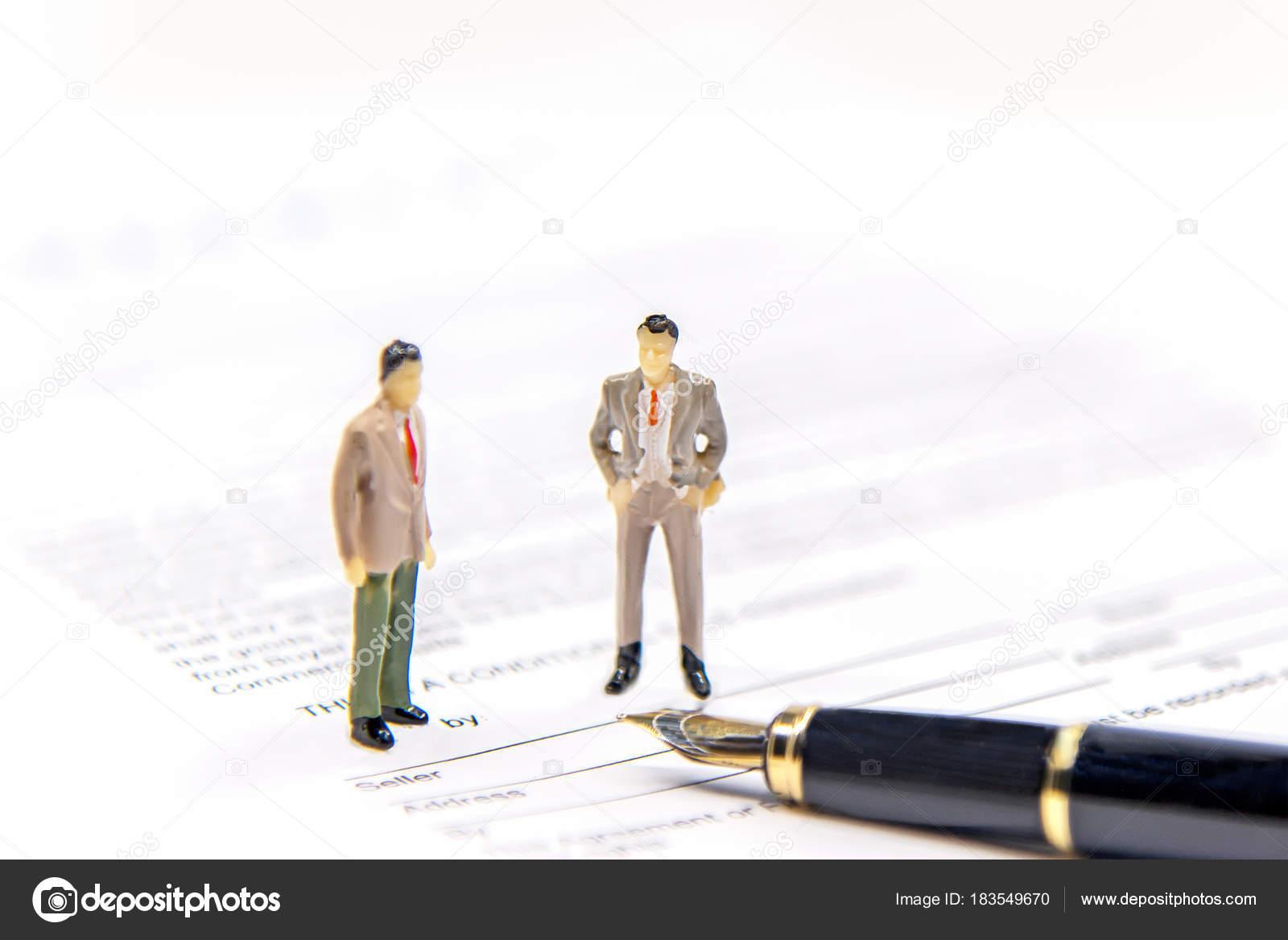 Businessman Partners Miniature People Figure Sign Contract Agreement