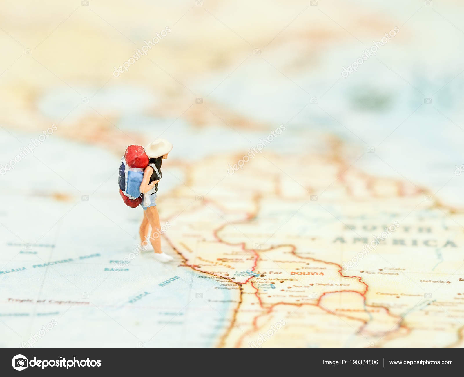 Miniature traveler women backpack standing wold map travel world miniature traveler women backpack standing wold map travel world travel stock photo gumiabroncs Images