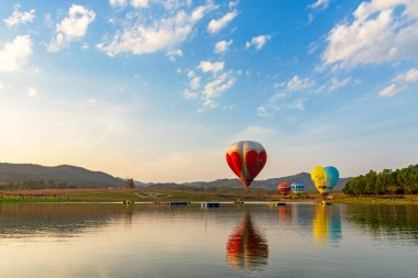 The hot air balloons flying over river and the cosmos flowers field in Chiang Rai province of Festival Thailand.