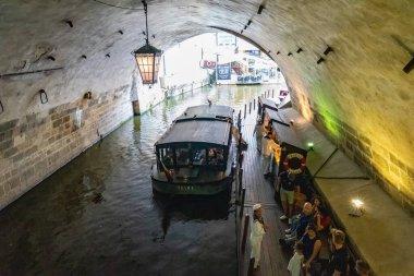 Cruise river Moldava boat of Prague in Czech Republic.