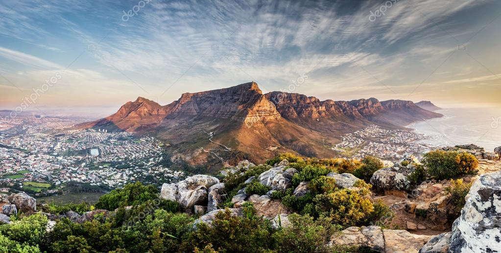Table mountain sunset panorama