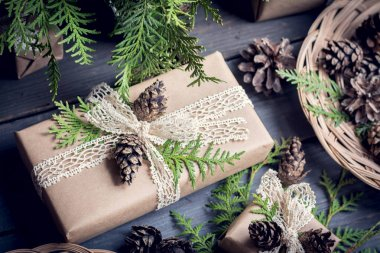 Christmas decorated gift box