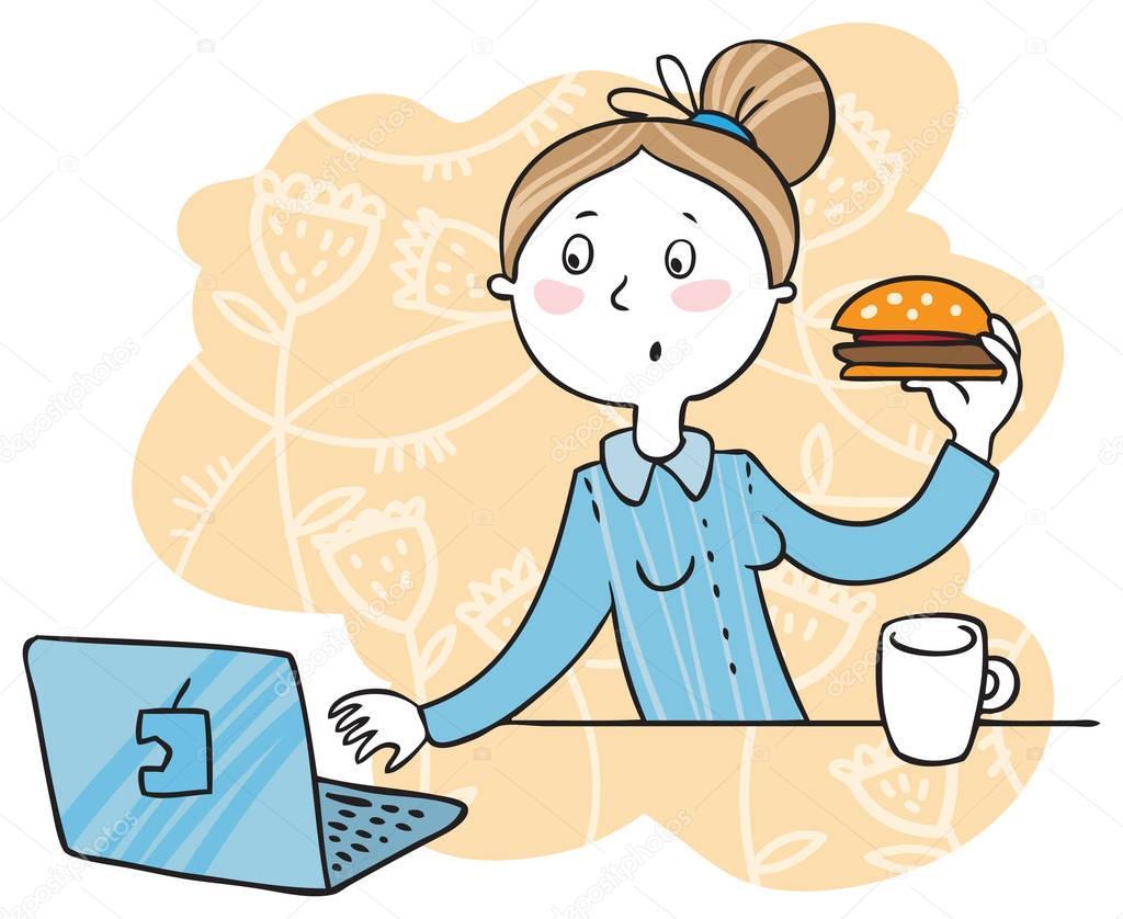 Девушка кушает на работе модельный бизнес благовещенск