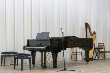 Black grand piano on wooden stage.