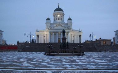 Cold morning on Senate Square in Helsinki