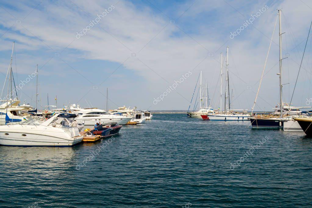Yacht seaport, landscape view. Blue sky, summer tourism