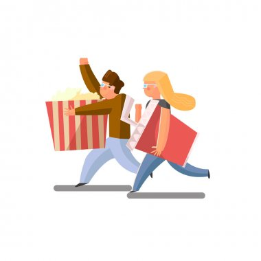 Viewers run to the movies with popcorn and soda. isolated on white background stock vector