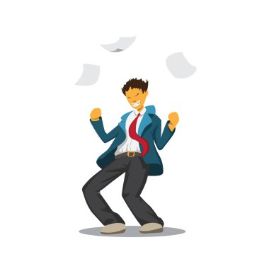 cheerful guy in a suit dropped documents