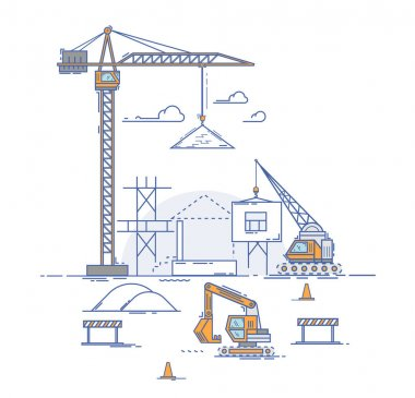 construction crane builds