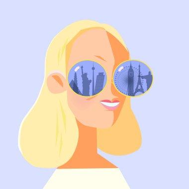 girl looks through binoculars