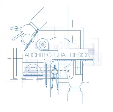 Architectural design workplace with tools