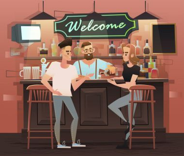 Friends at the bar illustration