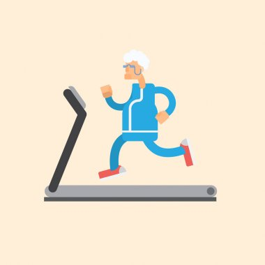 Grandfather running on treadmill