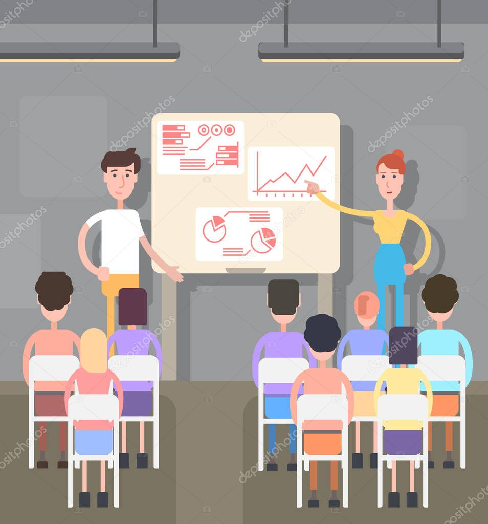 Business meeting illustration of a flat design