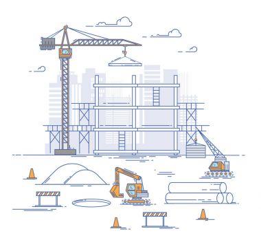 Construction site thin line illustration