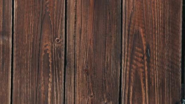 Panning záběr hnědé dřevěné oplocení textury pro pozadí makro přední