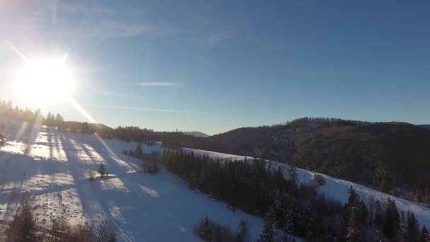 AERIAL: Flight over the river in winter