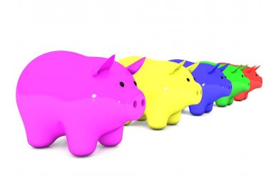 3d illustration: line of color piggy bank on a white isolated background. range from smallest to largest. five money box for coins in a row. pink, yellow, blue, green, red, rose.