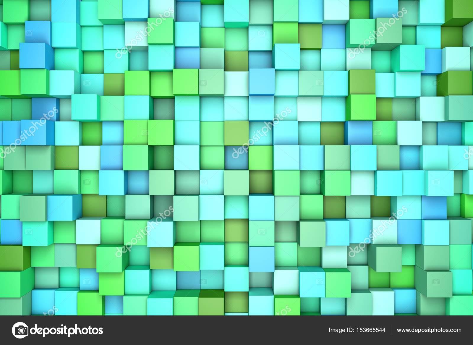 Ilustracin 3D abstracto fondo bloques de color verde color azul