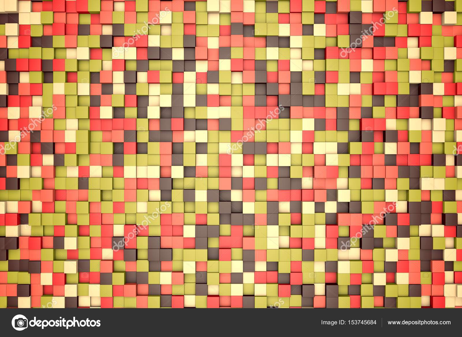 3d illustration: mosaic abstract background, colored blocks brown ...
