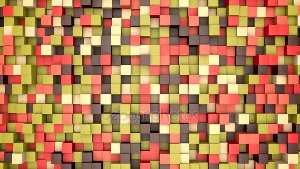 3D animace: mozaika abstraktní pozadí, barevné pohybující bloky hnědá, červená, růžová, zelená, béžová, žlutá barva. podzim, podzimní. Škála odstínů. malé čtverečky, buňky. Zdi kostky. Pixely umění. Bezešvá smyčka