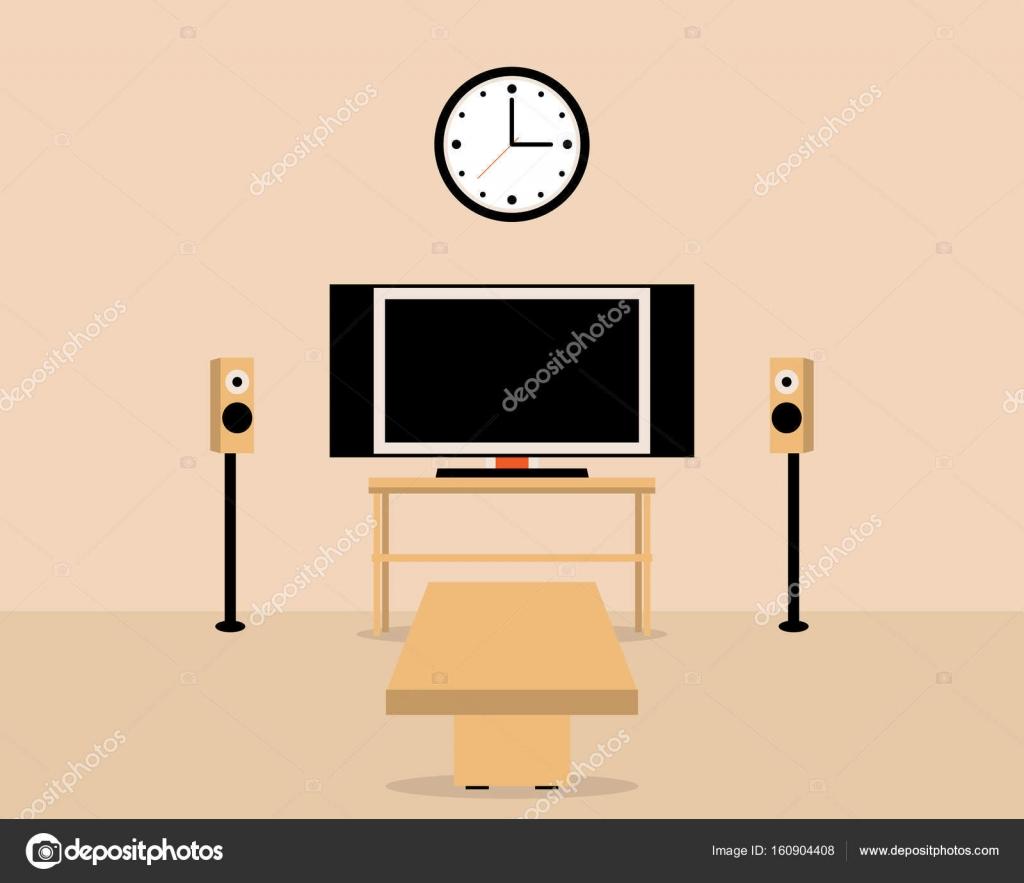 Wohnzimmer Mit Tisch Und Fernseher Gemutliche Wohnlandschaft