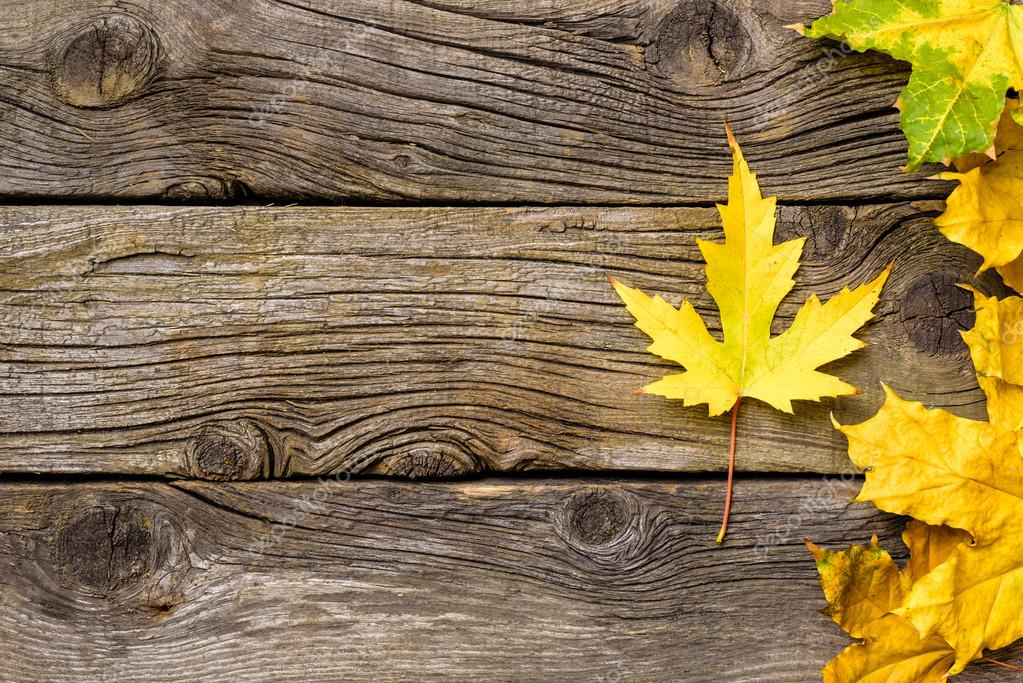 Autumn Leaves Over Wooden Background Fall Wood With Copy