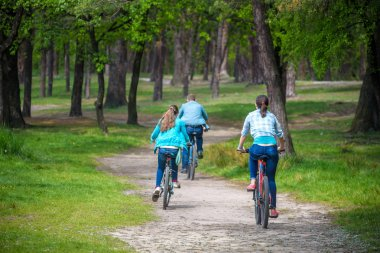 Parents With Daughter Riding Bikes In Park or summer forest. Vie