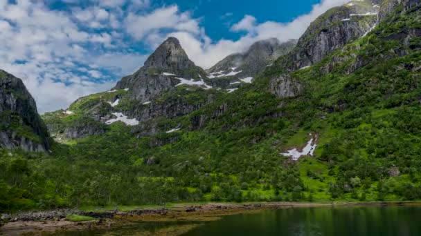 Timelapse of mountain landscapes on the Norwegian Sea in Troll fjord.
