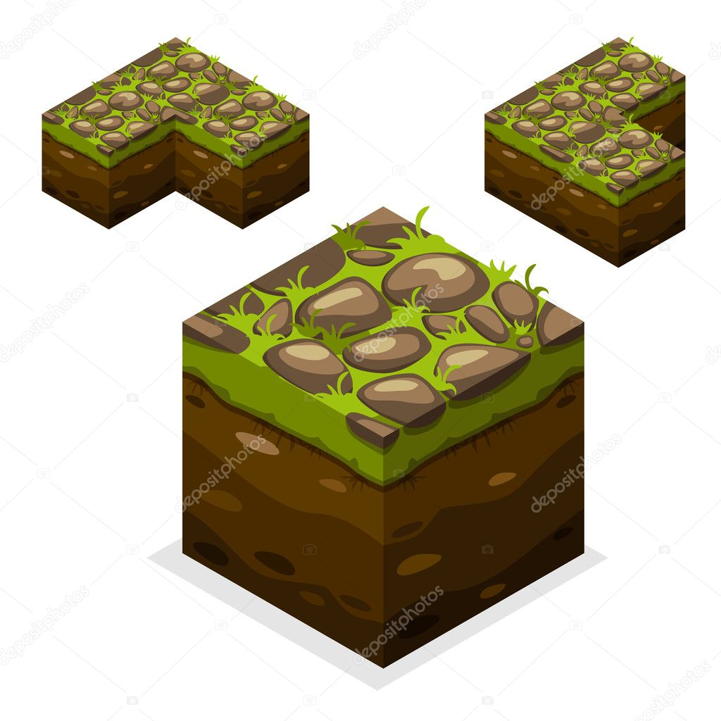 Game block Isometric Cubes, nature unending land and stone on grass
