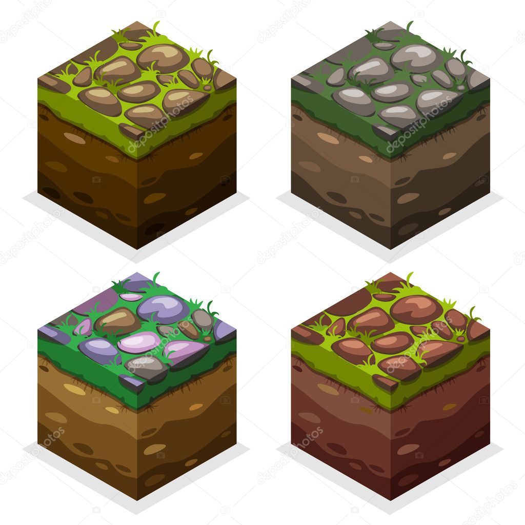 Colors Game block Isometric Cubes, nature unending land and stone on grass
