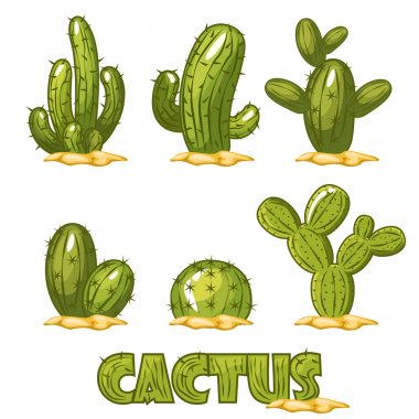 Mexican Cactus Set, funny of comic mexican desert cactus plants