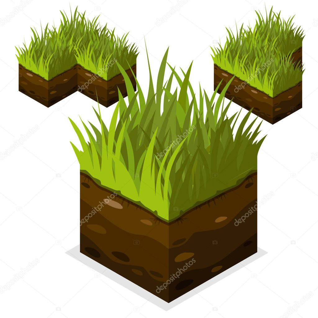 Game block Isometric Landscape Cube land and grass