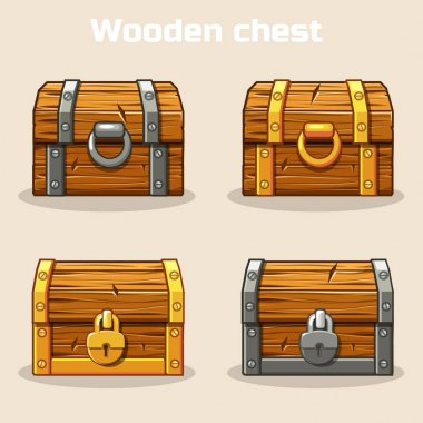 Closed wooden treasure chest