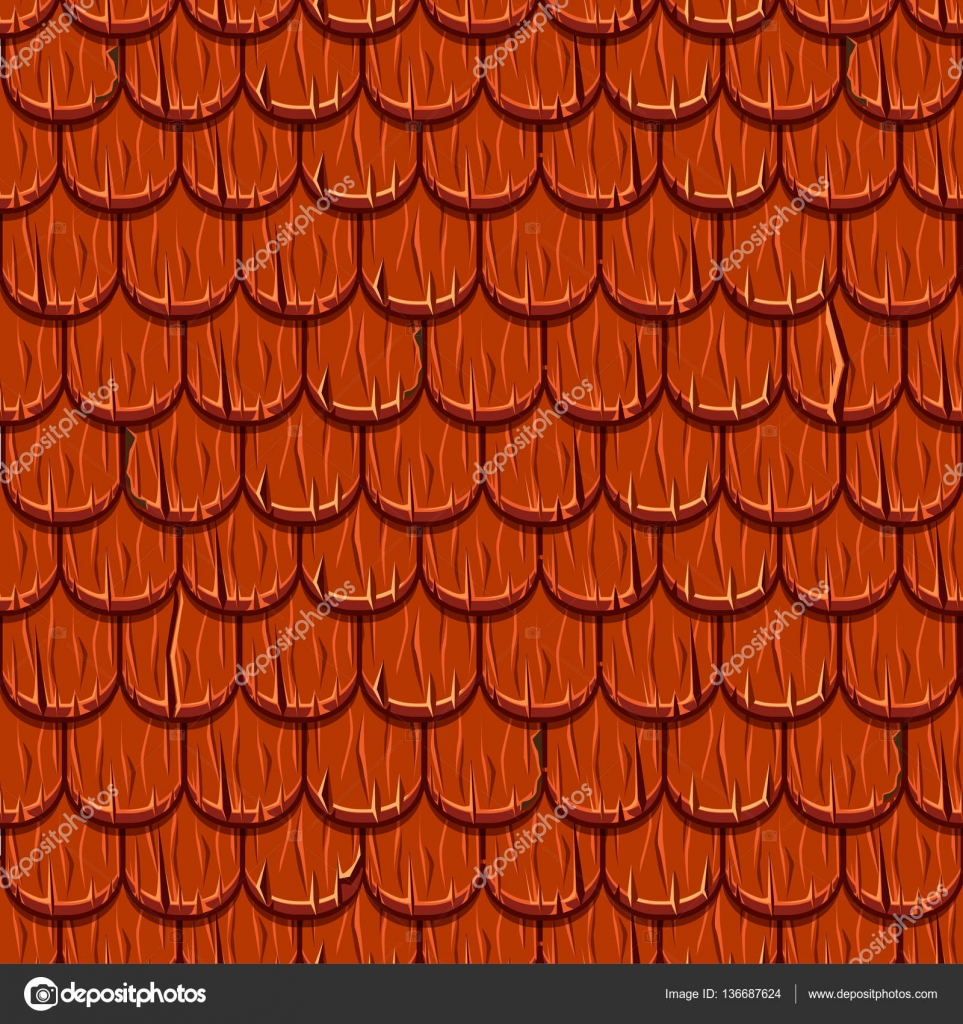 Cartoon Red Wooden Old Roofing Roof Tiles Seamless Stock