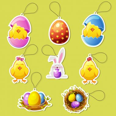 Pack cute cartoon icon stickers for Easter holiday icon