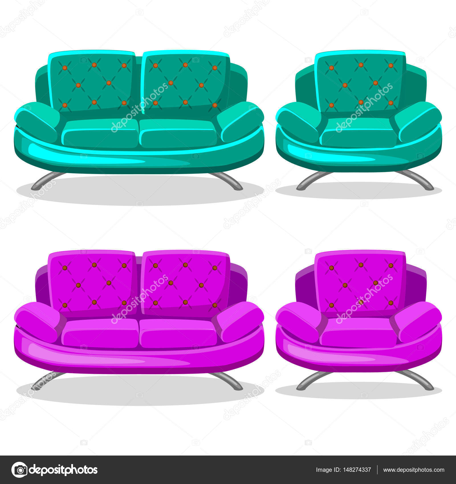 Cartoon Colorful Armchair And Sofa, Set 9 In Vector U2014 Photo By  BabySofja.gmail.com