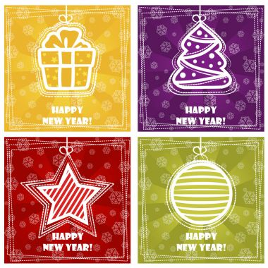 Collection greeting card, Happy New Year, Christmas decorations on colored Background stock vector