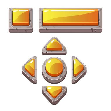 Orange Cartoon stone buttons for game or web design, gui elements set stock vector