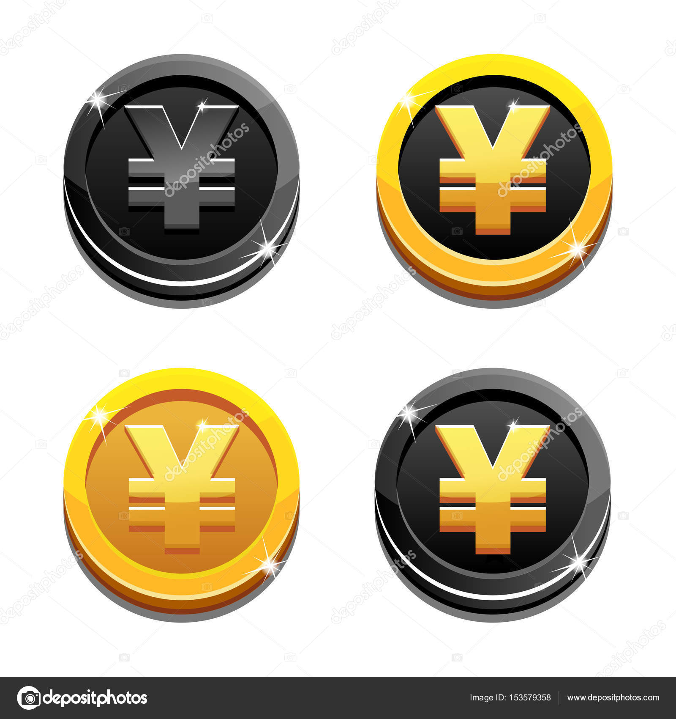 Cartoon Set Golden And Black Yen Coin Yuan Symbol Chinese Money