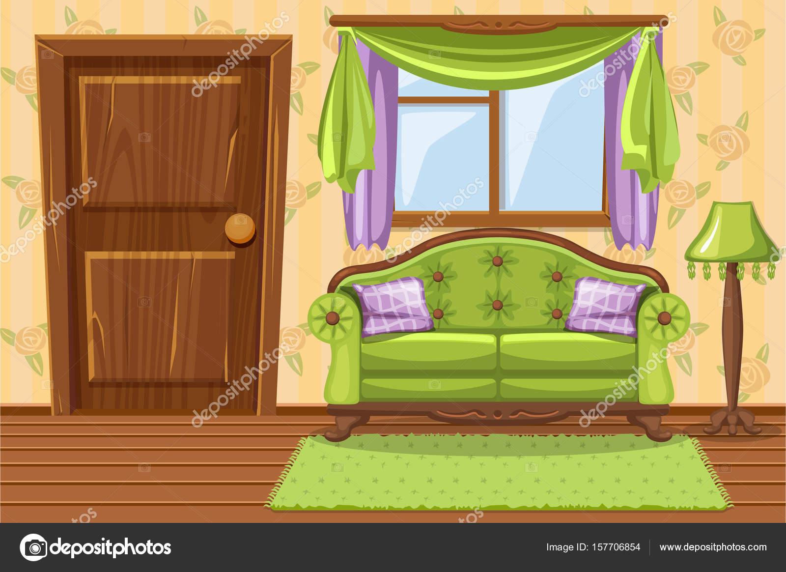 Eingestellten Cartoon grün Vintage gepolsterte Möbel, Wohnzimmer ...