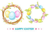 Vector circle frame with Easter eggs and tree branch, Happy Easter wreath