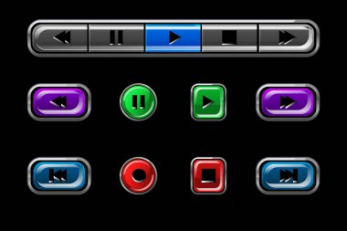 Set of glossy buttons for media player.