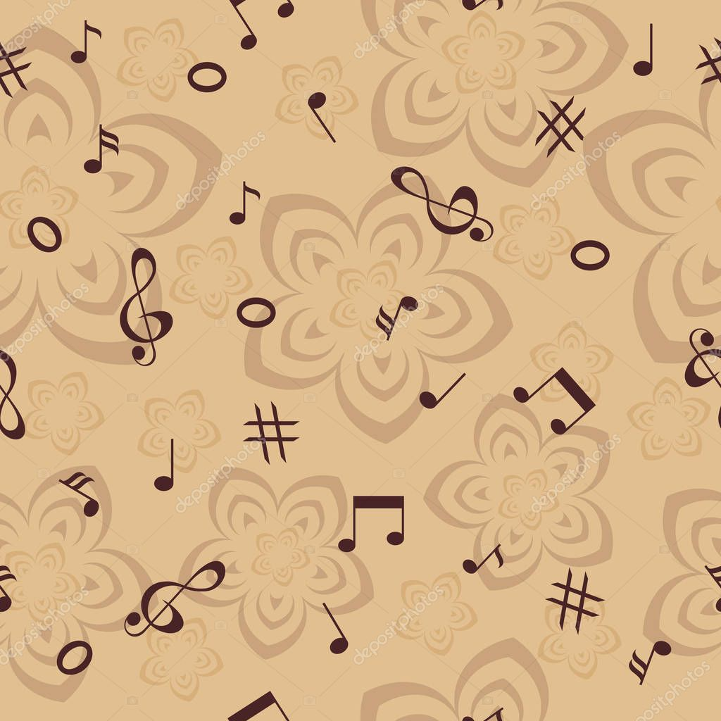 music notes and flowers seamless background