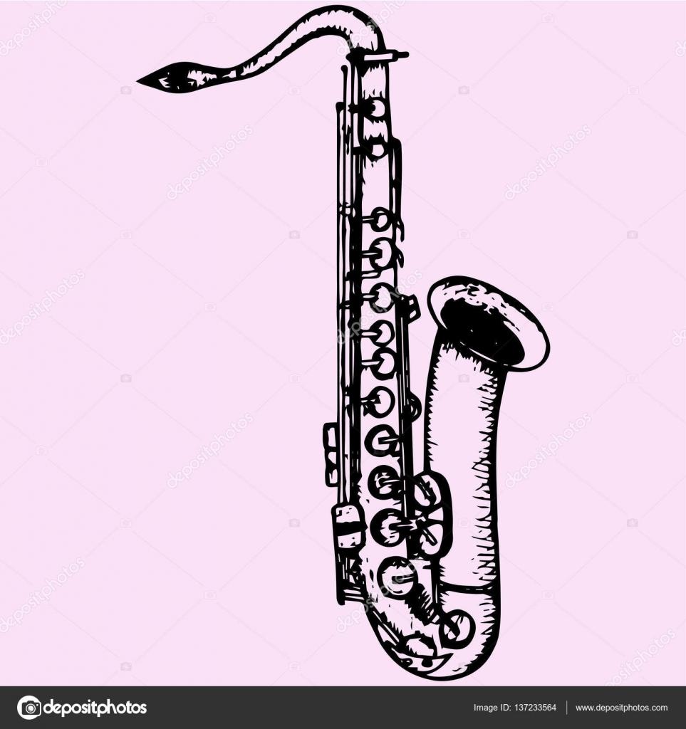 Сексофон нарисованный карандашом