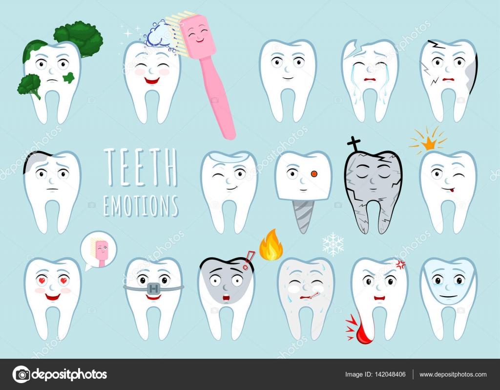 歯感情を設定します多くのさまざまな歯式ですあなたのデザインのため