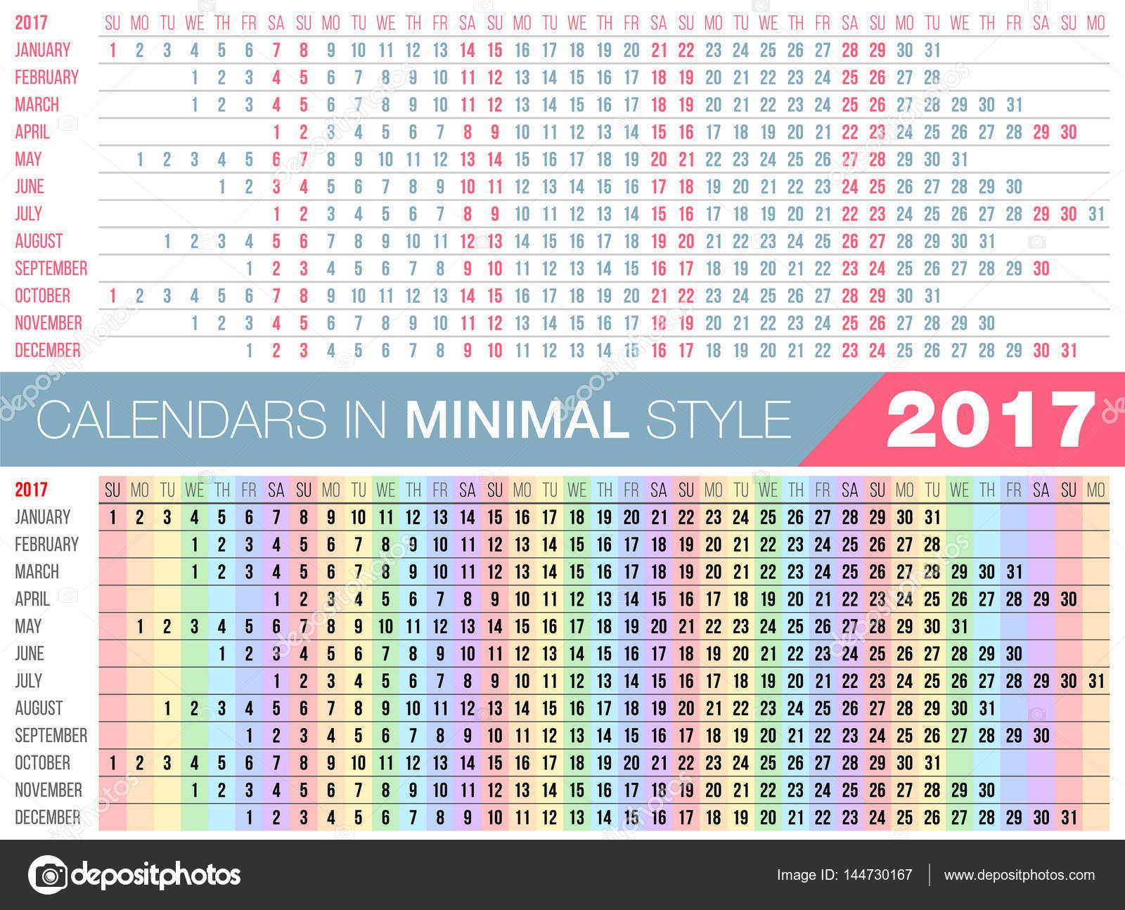 Calendario Lineal.Minimalista Calendarios Calendario Simple 2017