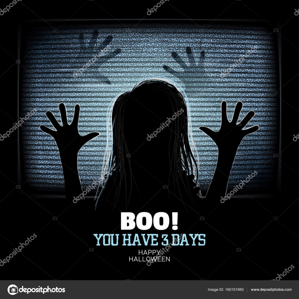 Ghost Girl Emerges Through Flickering Television Screen In Haunted House Happy Halloween Poster Vector
