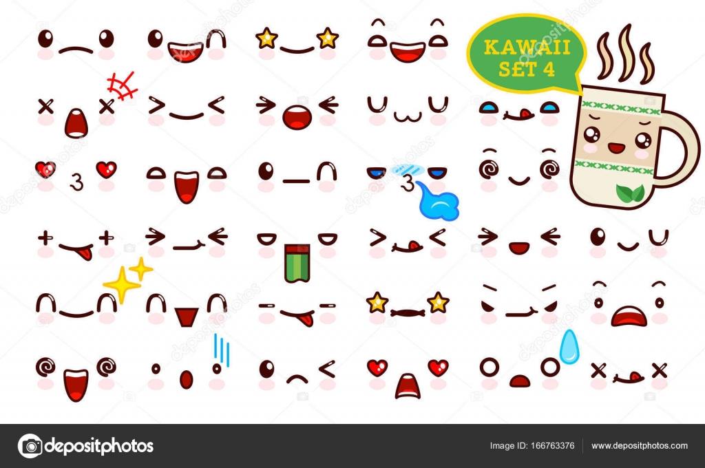 Juego De Cara De Emoticon Kawaii Cute Y Kawaii De Te Dulce