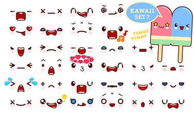 Set of cute kawaii emoticon face and sweet couple ice cream kawaii. Collection emoticon manga, cartoon style. Vector illustration. Adorable characters icons design
